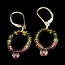 faceted tourmaline loop earrings