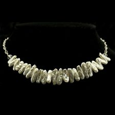 White stick pearl and crystal necklace