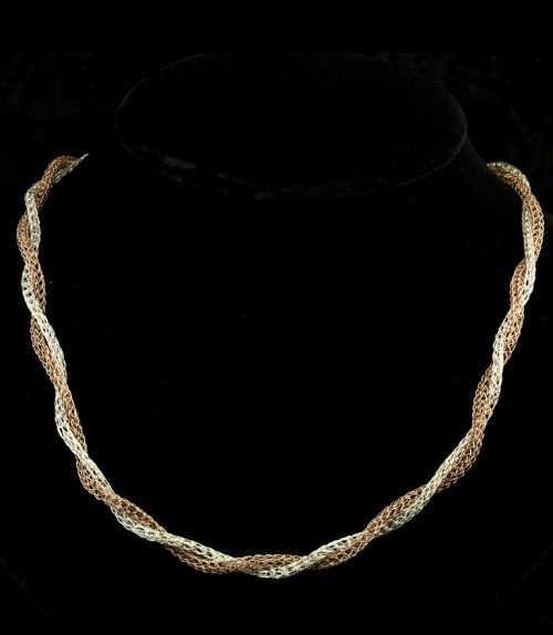 Woven rose gold and silver necklace