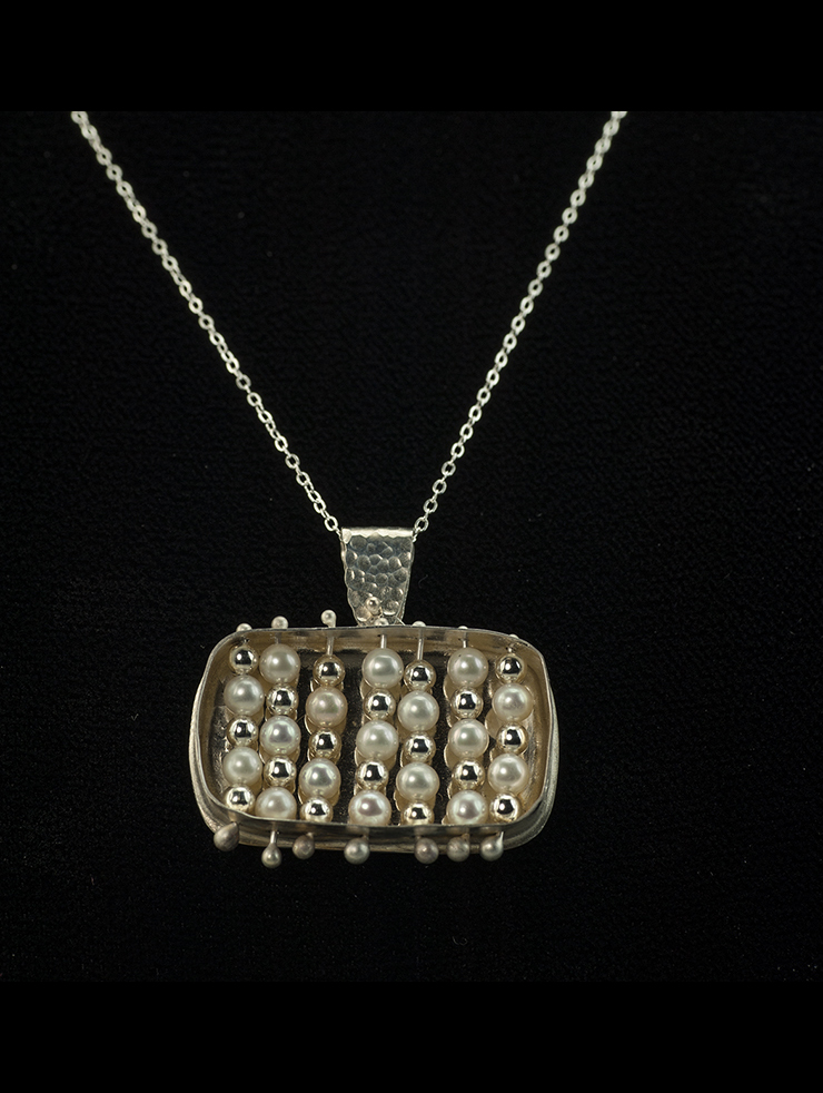 Pearl and sterling silver box pendant