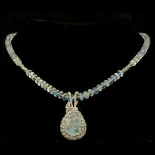 Rainbow moonstone necklace and pendant