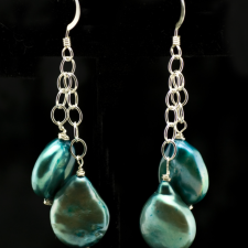 turquoise teal coin pearl earrings