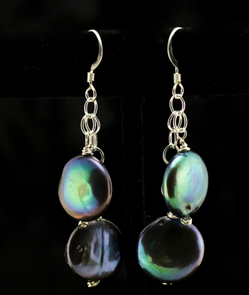 dark blue iridescent coin pearl earrings