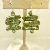 Metallic green Biwa pearl earrings