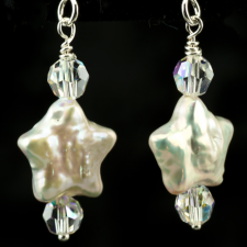 White star pearl earrings