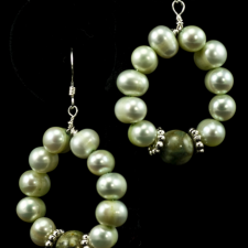 Light green pearl loop earrings with rainforest jasper
