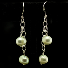 Light green pearl earrings
