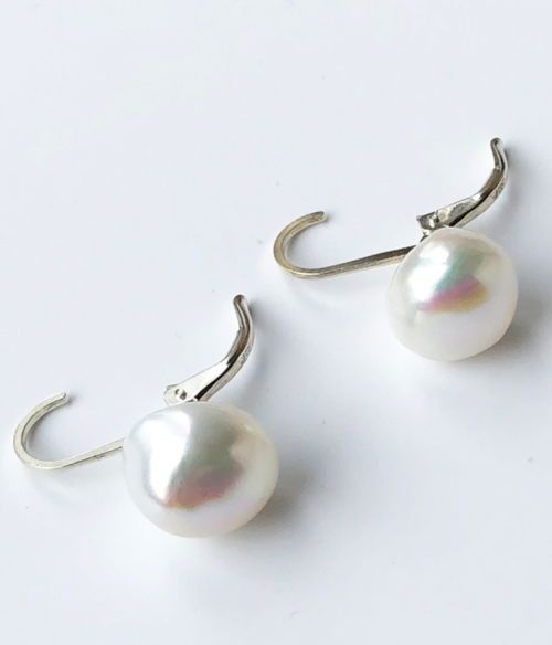 White iridescent button pearl pierced earrings