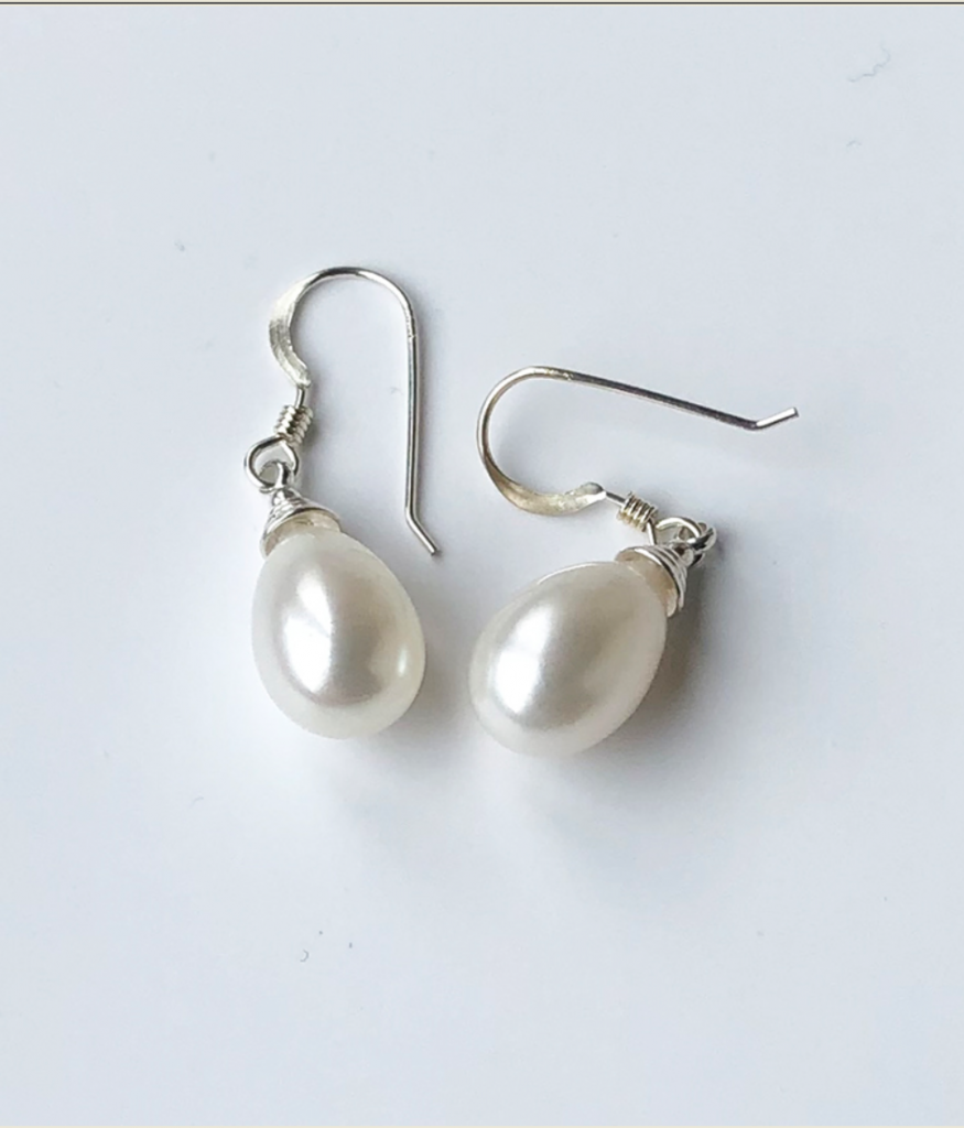White iridescent pearl drop earrings