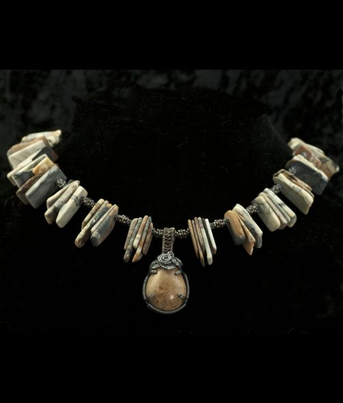 jasper slice necklace and pendant