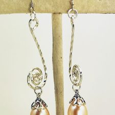 peach pearl drop earrings