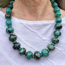 Chunky turquoise bead necklace