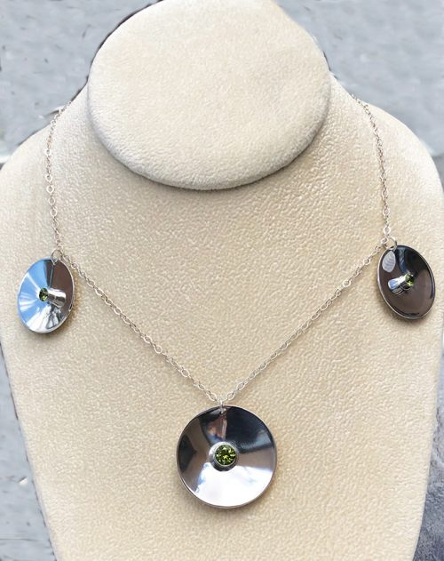 sterling silver disc necklace with three pendants