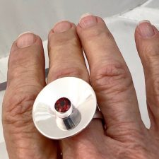 sterling silver disc ring with garnet