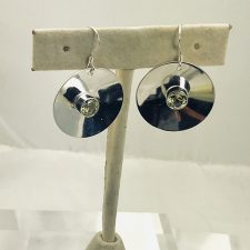 sterling silver disc earrings with lemon quartz-large