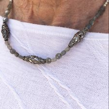 Diana wearing labradorite and antique silver bead necklace
