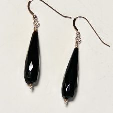 Black spinel long faceted drop earrings