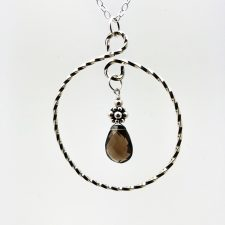 smoky quartz in twisted silver pendant