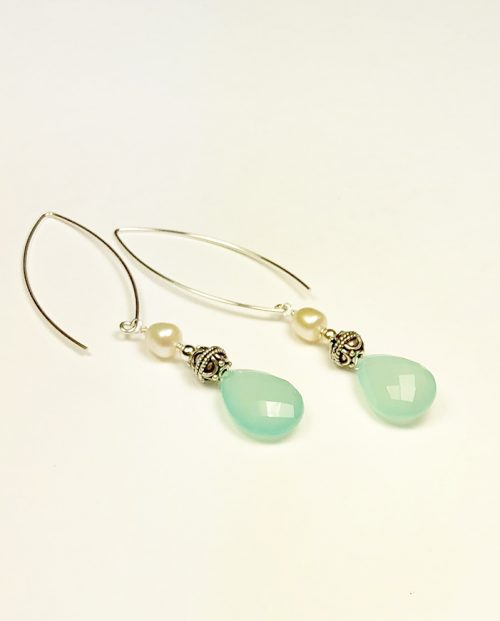 aqua chalcedony brio and bead earrings with pearls
