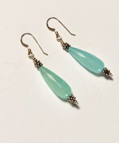 Aqua chalcedony faceted drop earrings