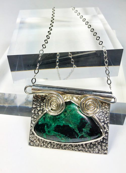 chrysocolla and hematite on handcrafted silver pendnat