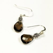 smoky quartz and silver dangle earrings