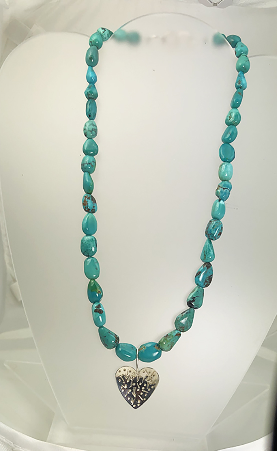 turquoise necklace with sterling silver heart pendant