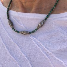 Dark green turquoise and silver bead necklace