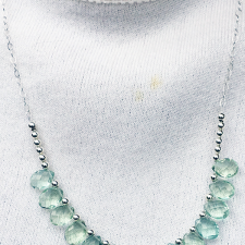 Fluorite and sterling silver chain necklace