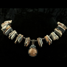 Jasper slice necklace