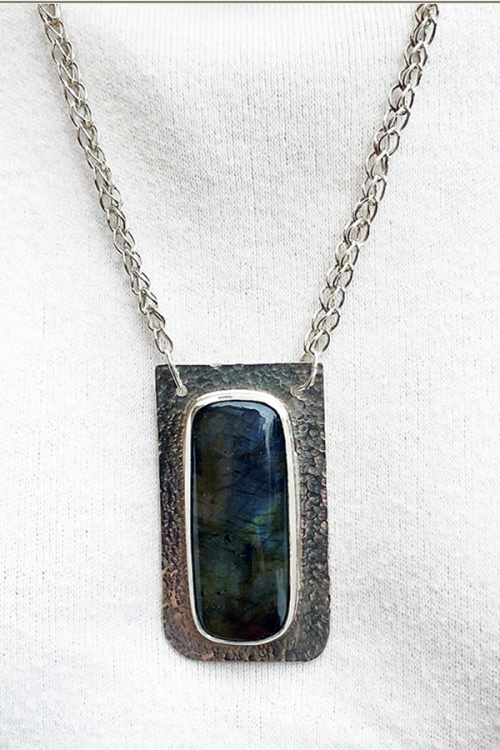Labradorite and silver pendant with handmade silver chain