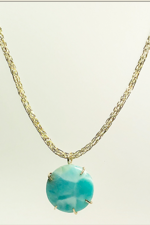 larimar pendant on woven silver necklace