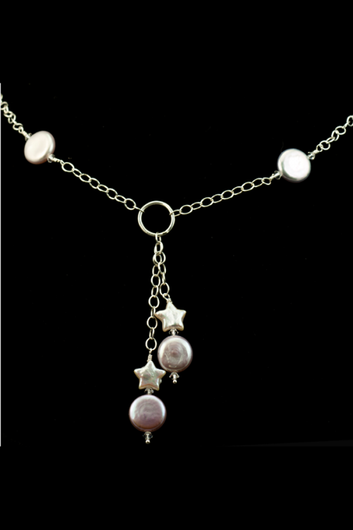 Lavender coin pearl necklace with star pearl accents