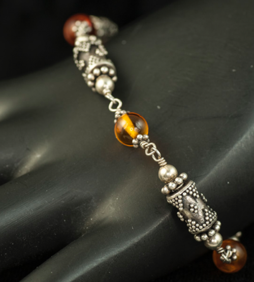 sterling silver and amber bead link bracelet