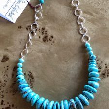 turquoise necklace with hammered silver accents
