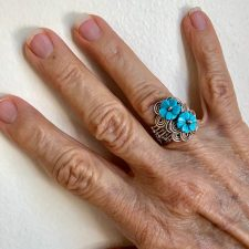 woven silver turquoise flower ring
