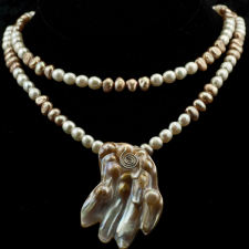 two strand pearl necklace with pendant