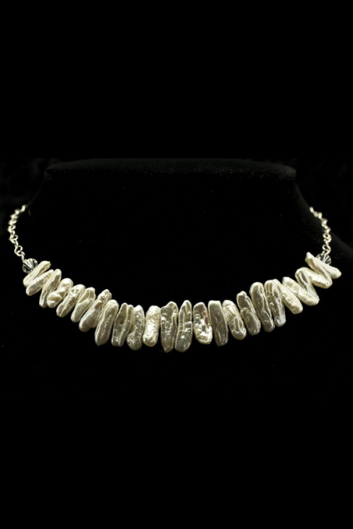 White stick pearl necklace