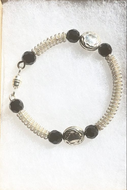 coiled silver and faceted onyx bracelet magnetic catch