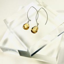 citrine earrings long ear wires