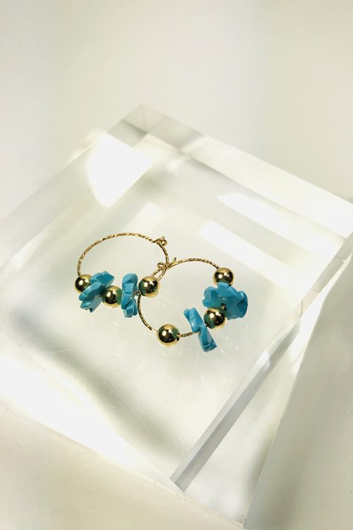 Gold fill hoops 20mm with carved turquoise flowers