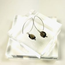 Smoky Quartz earrings long wires