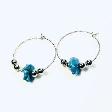 sterling silver hoops 25mm with turquoise flowers