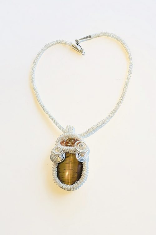 Tiger Eye-woven silver pendant and necklace