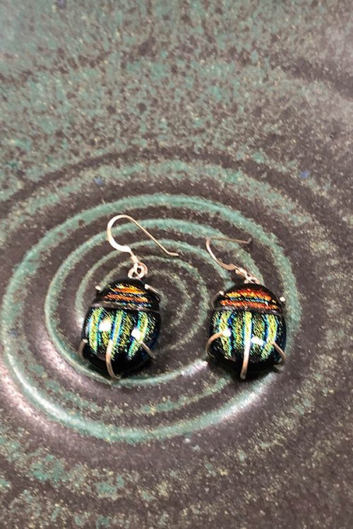 dichroic glass scarab earrings