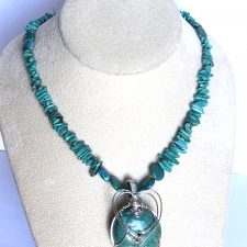 Turquoise chip necklace and pendant