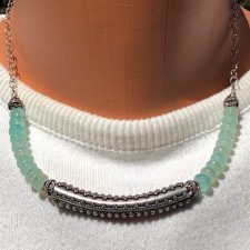 Aqua chalcedony necklace with silver Bali tube