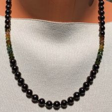 black pearl and tourmaline knotted necklace