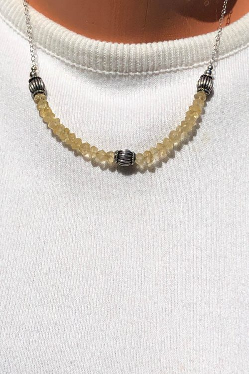 Citrine bead necklace with silver melon beads
