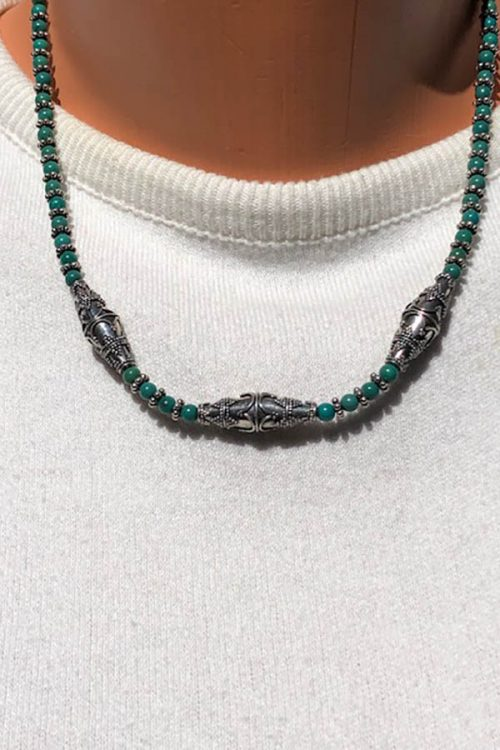 dark green turquoise bead necklace with Bali silver